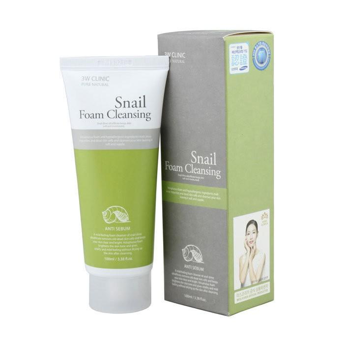 3W Clinic Пенка для умывания с улиткой Snail Cleansing foam