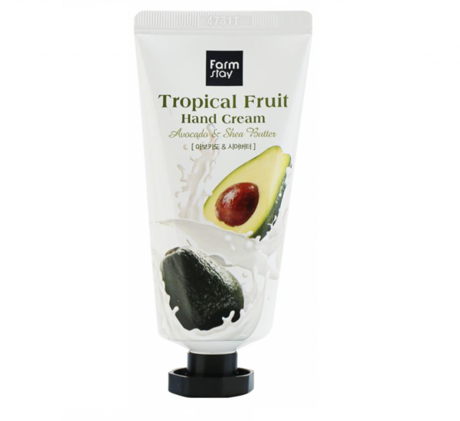 Farmstay Питательный крем для рук с маслом ши и авокадо Tropical Fruit Hand Cream Avocado