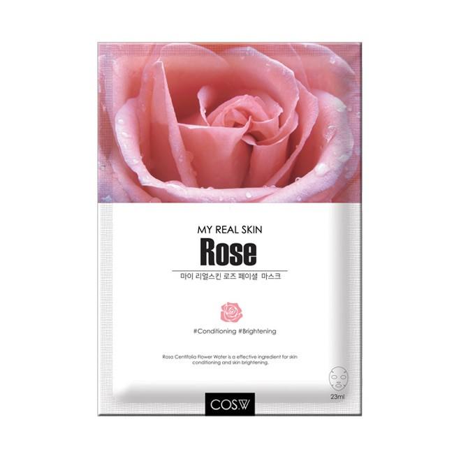 Cos W Маска-салфетка с экстрактом розы My Real Skin Rose Facial Mask